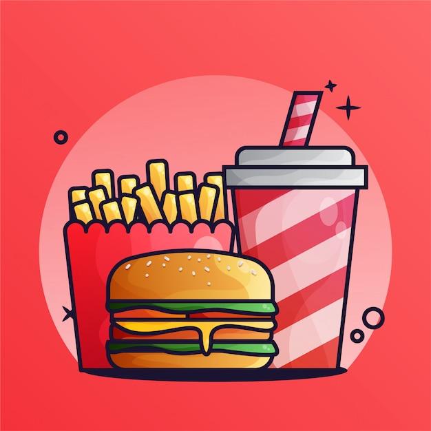 Hamburger I Napój Z Frytkami Gradient Ilustracja Premium Wektorów