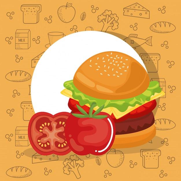 Hamburger i pomidory fast food Darmowych Wektorów