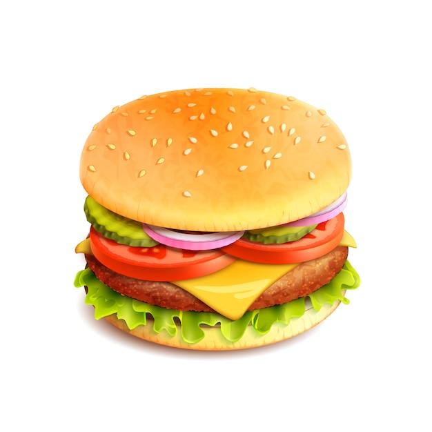 Hamburger realistyczny na białym tle Darmowych Wektorów