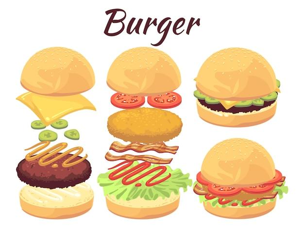 Hamburgery Na Białym Tle. Ilustracja Kreskówka Fast Food Premium Wektorów