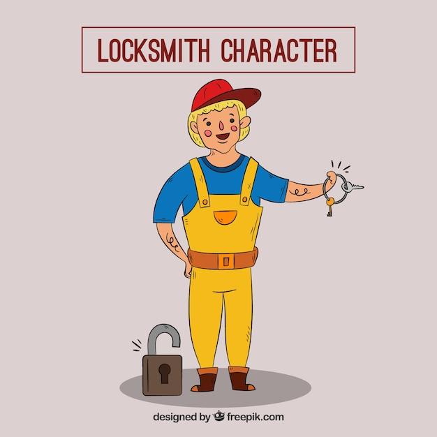 Hand drawn locksmith character Darmowych Wektorów
