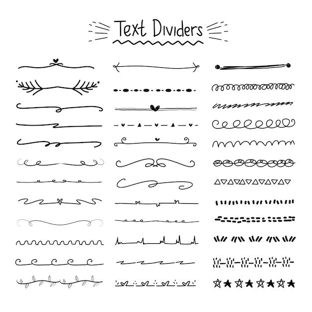 Hand drawn text divider collection Premium Wektorów