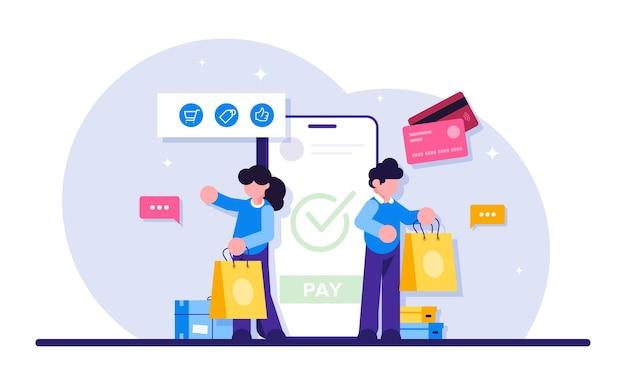 Handel Online. Technologia E-biznesowa Lub E-commerce. Premium Wektorów