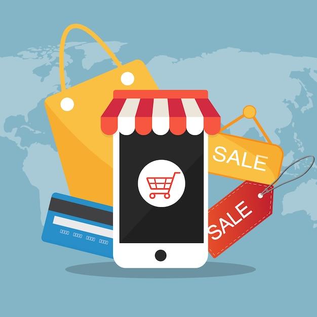 Handlu elektronicznego płaskiej ikony wektorowy ilustracyjny pojęcie Premium Wektorów