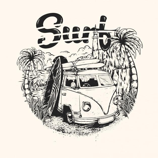 Handrawn Vintage Surfowania Latem Premium Wektorów