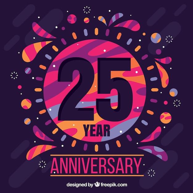 Happy 25-lecie tło z kolorowych kształtów Darmowych Wektorów