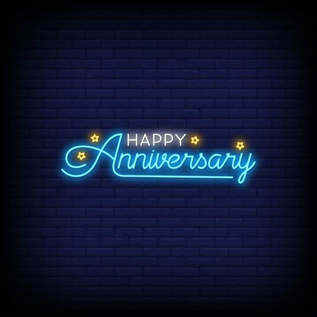 Happy anniversary na plakat w stylu neonowym Premium Wektorów