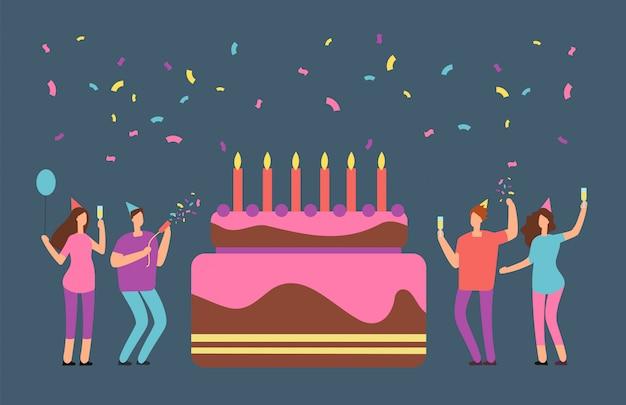 Happy birthday party rodzinne z okazji szczęśliwych ludzi i wielkiego ciasta. zaproszenie na przyjęcie urodzinowe kreskówka kreskówka Premium Wektorów