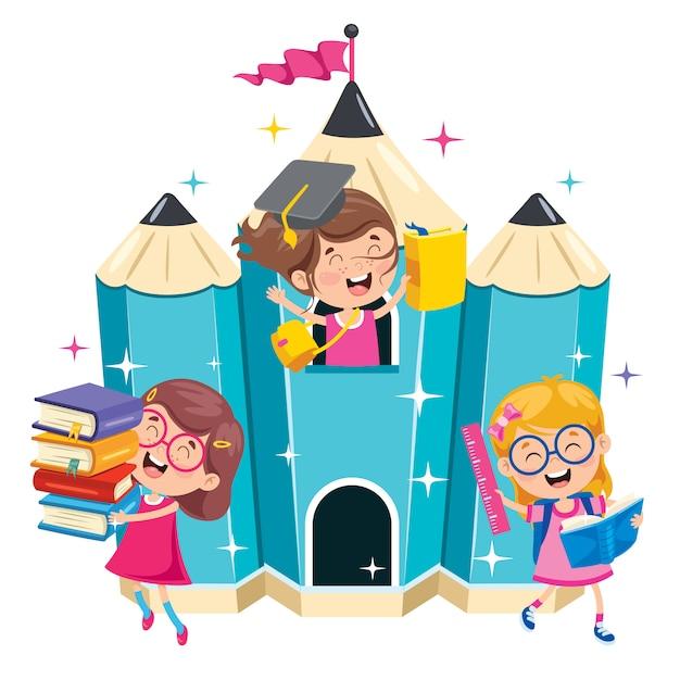 Happy Cute Cartoon School Children Premium Wektorów