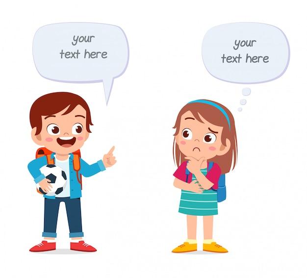 Happy Cute Dzieci Chłopiec I Dziewczynka Rozmawiają Ze Sobą Premium Wektorów