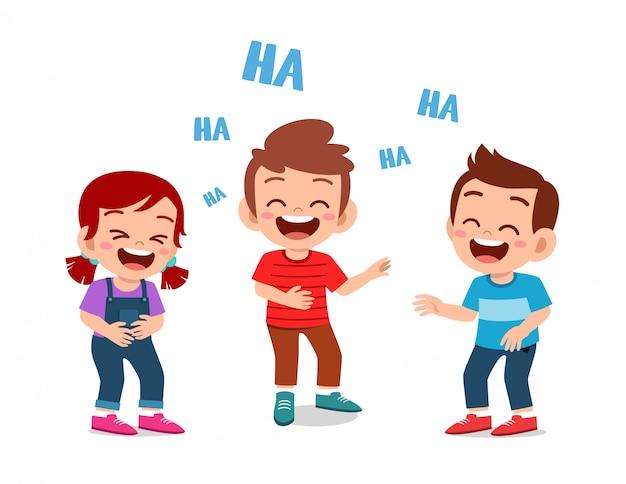 Happy Cute Dzieci Chłopiec I Dziewczynka śmiać Razem Premium Wektorów