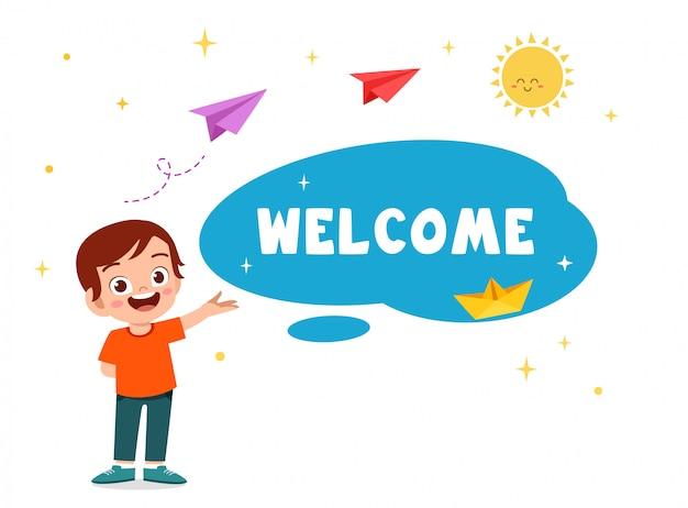 Happy cute kid boy powitanie karta z pozdrow Premium Wektorów