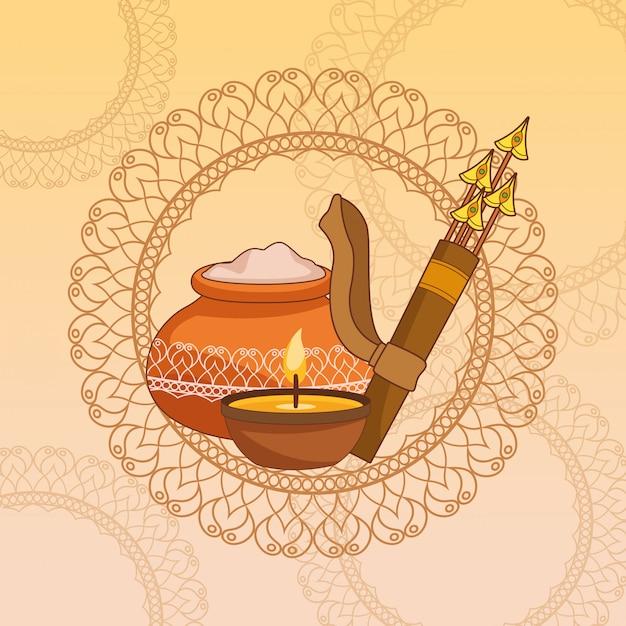 Happy dasera festiwal indii Premium Wektorów