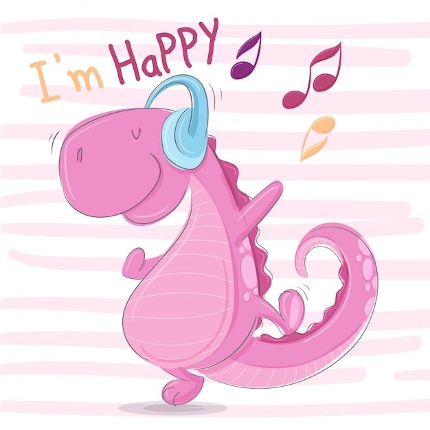 Happy dino słuchaj muzyki Premium Wektorów