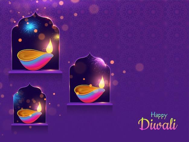 Happy diwali background. Premium Wektorów