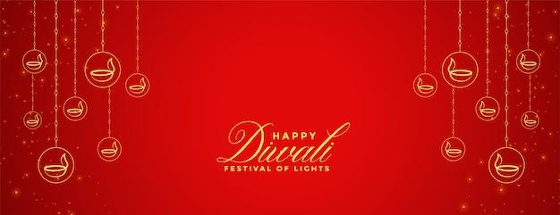 Happy Diwali Czerwony Sztandar Z Dekoracją Diya Darmowych Wektorów
