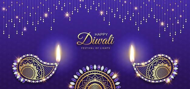 Happy Diwali Luxury Gold Diament Diya Dekoracji Tła Premium Wektorów