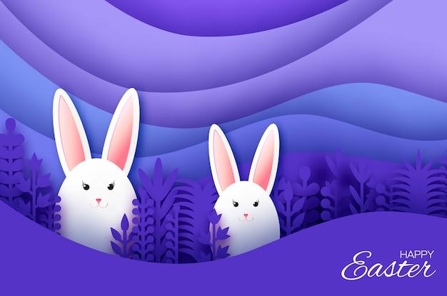 Happy Easter Greeting Card Z Króliczym Wyciętym Króliczkiem Premium Wektorów