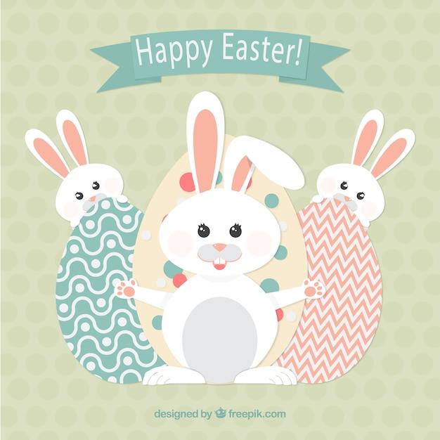 Happy Easter Z Króliczkami Darmowych Wektorów