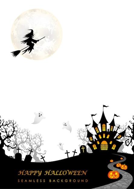 Happy Halloween Bez Szwu Ilustracji Z Księżycem Darmowych Wektorów