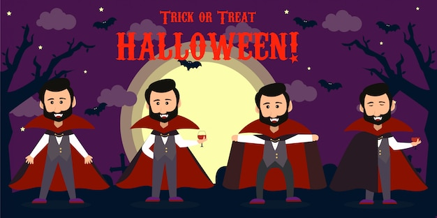 Happy Halloween Count Dracula Na Sobie Czerwoną Pelerynę. Zestaw Ilustracji Wektorowych Znaków Wampira Cute Cartoon Premium Wektorów