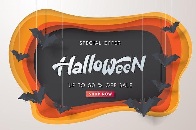Happy Halloween Kaligrafia Z Latającymi Nietoperzami Papieru. Premium Wektorów