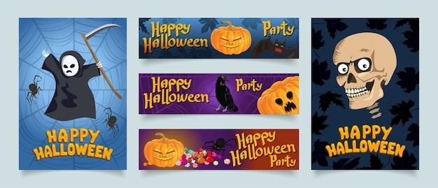 Happy Halloween Kolekcja Banerów Internetowych. Premium Wektorów