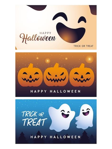 Happy Halloween Kolekcja Projektowania Banerów, Wesołych świąt I Przerażających Premium Wektorów
