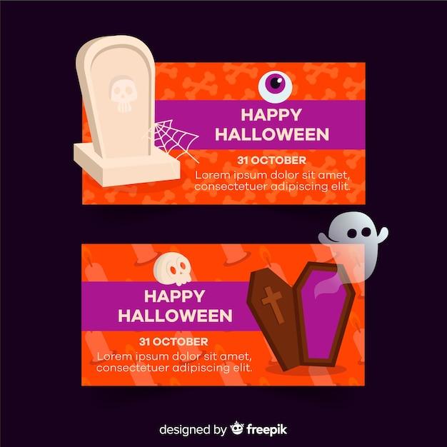 Happy halloween płaskie banery z duchami Darmowych Wektorów