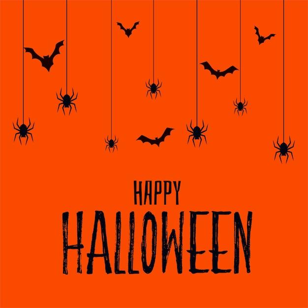 Happy Halloween Straszna Straszna Karta Z Nietoperzami I Pająkiem Darmowych Wektorów