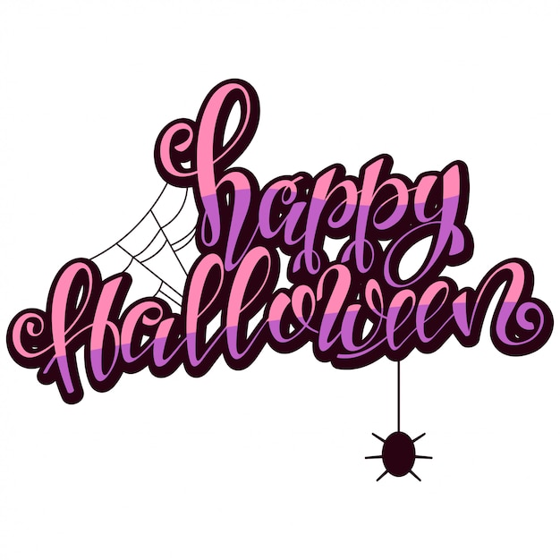 Happy halloween tekst z pajęczyną i pająkiem. ilustracja na białym tle. Premium Wektorów