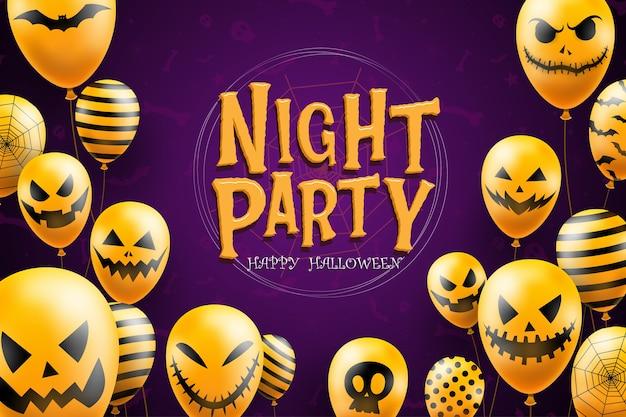 Happy Halloween Tło Szablon W Ciemności Z Ikonami Balonów Twarz Diabła Darmowych Wektorów