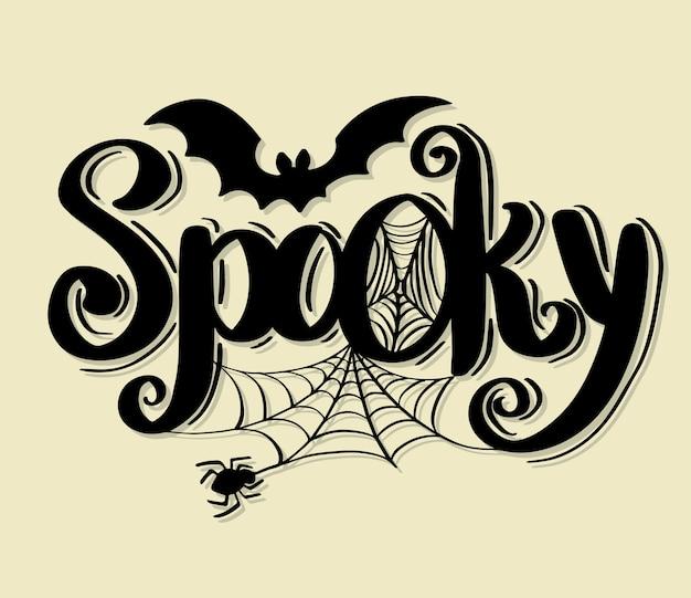 Happy halloween wektor napis święto kaligrafii. Premium Wektorów