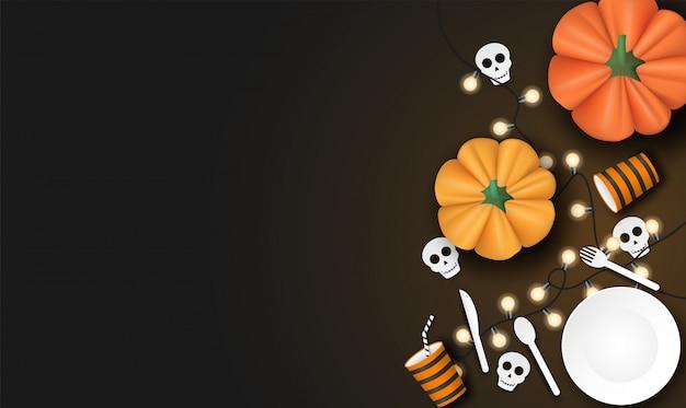 Happy halloween z dyni i zastawy stołowej na czarnym tle. Premium Wektorów