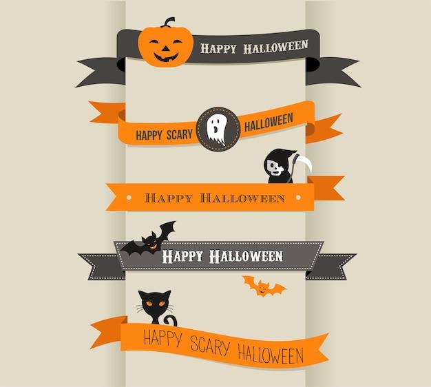 Happy Halloween Zestaw Wstążek Wektor Premium Wektorów