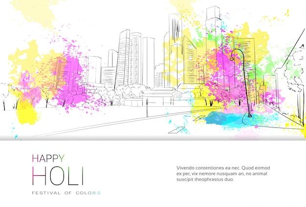 Happy Holi Religijne Indie Wakacje Tradycyjne święto Greeting Card Premium Wektorów