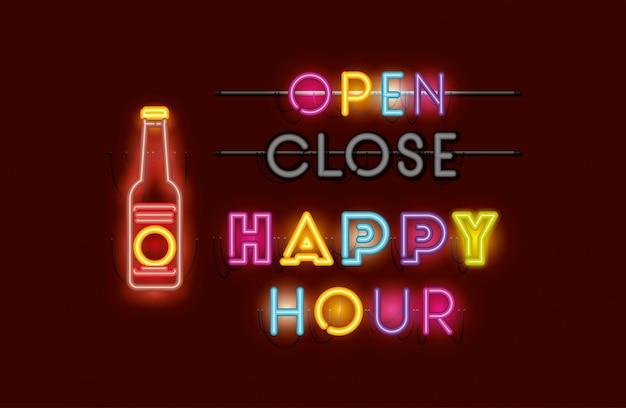 Happy hour z butelkami piwa neonowymi lampkami Premium Wektorów