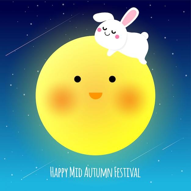 Happy illustraion festiwalu w połowie jesieni Premium Wektorów