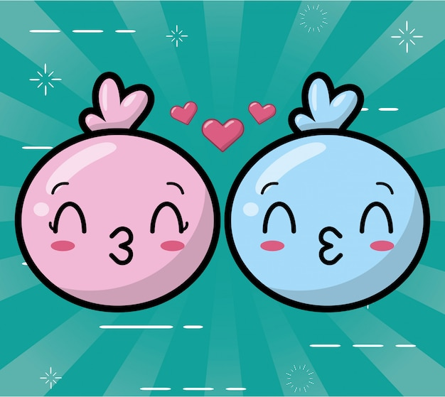 Happy kawaii emoji niebiesko-różowe Darmowych Wektorów