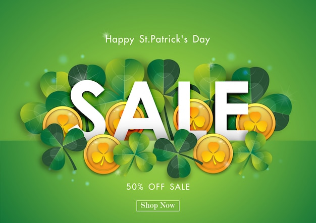 Happy st patrick's day sale off background Premium Wektorów