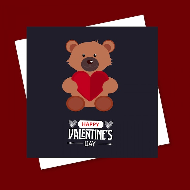 Happy valentine's day bear card Darmowych Wektorów