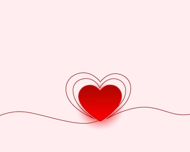 Happy Valentines Day Minimalne Powitanie Z Projektem Serca Darmowych Wektorów