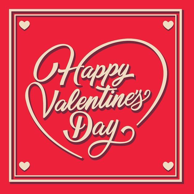 Happy valentines day napis w ramce z swirls Darmowych Wektorów