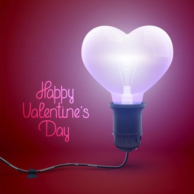 Happy Valentines Day Plakat Z Napisem Pozdrowienia I Realistyczną Podświetlaną żarówkę Przewodową W Kształcie Serca Ilustracji Wektorowych Darmowych Wektorów