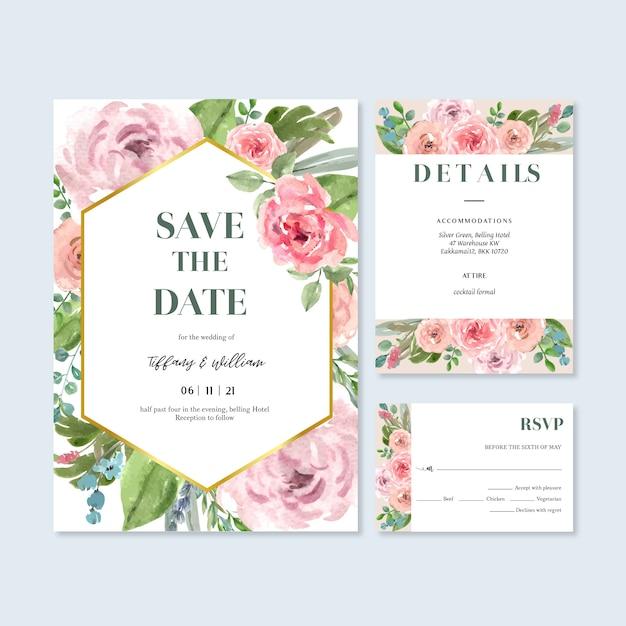 Happy wedding card kwiatowy ogród zaproszenie karty małżeństwa, szczegóły rsvp. Darmowych Wektorów