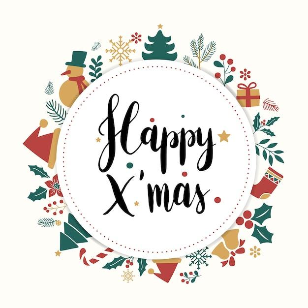 Happy Xmas Kartkę Z życzeniami Z Napisem Darmowych Wektorów