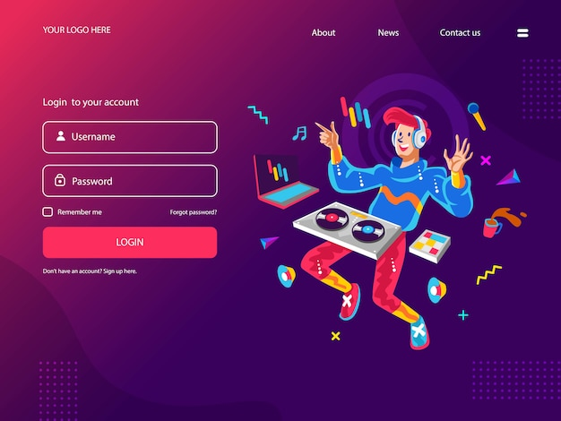 Happy Young Dj Odtwarzanie Muzyki Cyfrowej Premium Wektorów