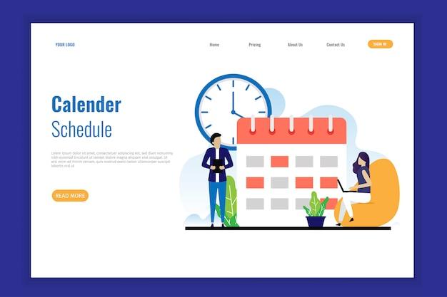 Harmonogram kalendarza strony docelowej Premium Wektorów