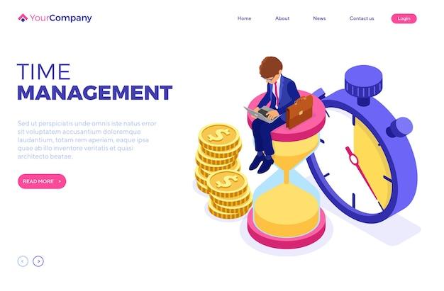 Harmonogram Planowania Zarządzania Czasem Z Domu Z Biznesmenem Premium Wektorów