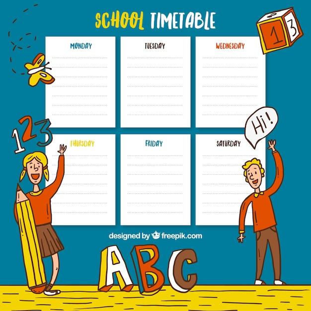 Harmonogram szkoła z ręcznie rysowane dzieci i elementami szkolnych Darmowych Wektorów
